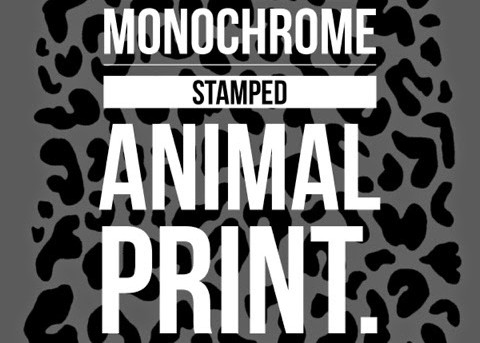 Monochrome animal print nails using stamping